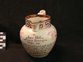 Lustreware jug inscribed John Hill Broken Borough Wilts 1860