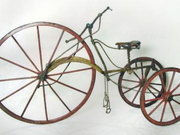 Tricycle, hand-driven and foot-steered, mid 19th century.