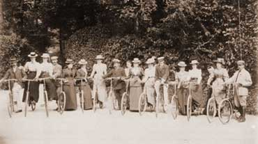 Cycling was a new and very popular sport with yong ladies; it was considered very daring for some to be actually sitting astride their cycles!